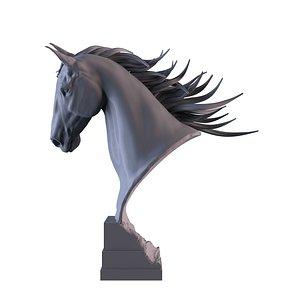 statue horse head 3D