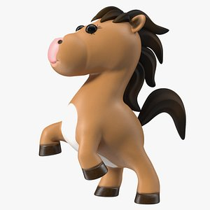 3D model Brown Cartoon Horse Rigged for Cinema 4D
