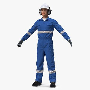 3D Oil Gas Worker Fully Equipped Neutral Pose Fur model