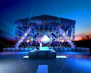 3D model Stage truss meeting hall event T station show concert
