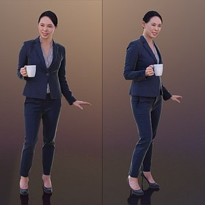 10278 Bao - Business Woman With Coffee Resting Hand On Table 3D model