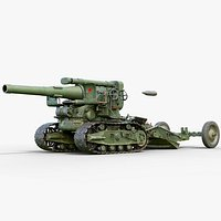 3D rigged b-4 howitzer gameready
