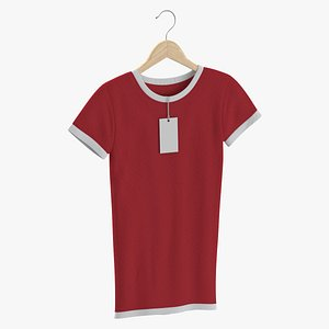 Female Crew Neck Hanging With Tag White and Red 02 3D model