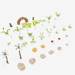 3D fantasy plants grass flowers model