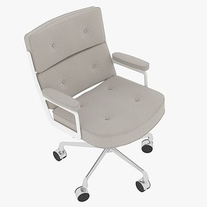 3D Eames Executive Chair White Frame Snowy Fabric model