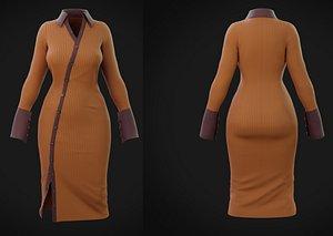 3D Bodycon Rib Knit Collar dress