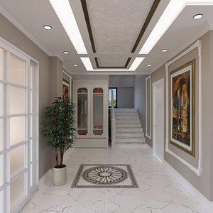 villa entry hall design 3D model