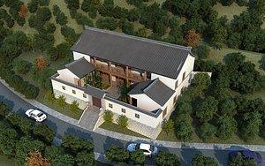 3D villa bird eye view villa model