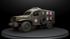 3D ambulance ww2 model