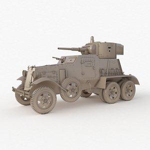 3D BA 6 Armored Car Clay Vray model