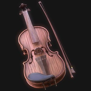 3D Stylized Wood Violin