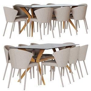 Diningroom set CALLIGARISchairAMELIEandtableTOKYO 3D model