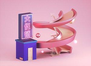 Slide parking lot e-commerce promotional advertising poster DP model