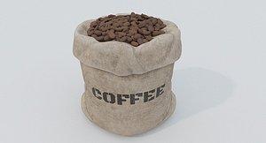 3D Bag of coffee beans model