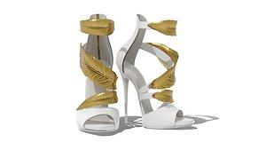 3D Golden Leaves Heels