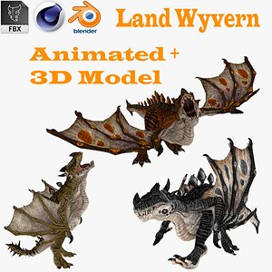 Dragon Wyvern Rigged With 4 Skins 3D model