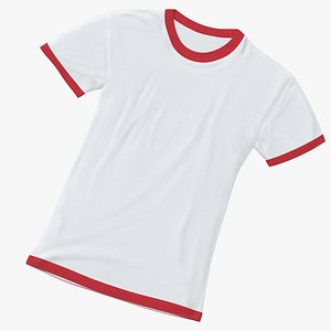 3D Female Crew Neck Laying White and Red 02 model