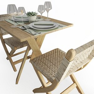 Wood And Rope Table And Folding Chairs Set AtelierS 3D model