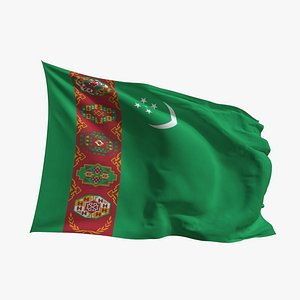 Realistic Animated Flag - Microtexture Rigged - Put your own texture - Def Turkmenistan 3D model