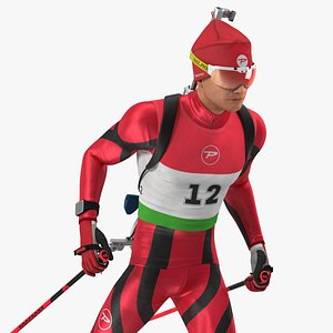 3D Biathlete Fully Equipped Rigged for Modo