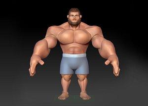 3D cartoon hulk model