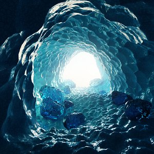 3D model cave ice frozen