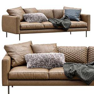 3D model boutique leather sofa moooi