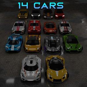 14 Sport Cars Pack 3D model