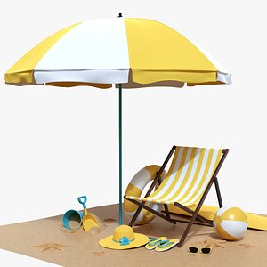 3D model Beach composition 02