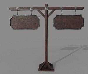 3D 2 Wooden PBR Signboards