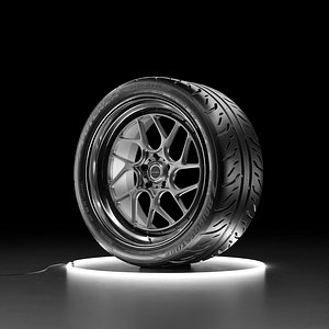 3D Car wheel Bridgestone Potenza RE-71R with Brixton Forged CM7 model