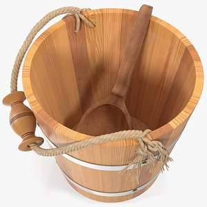 3D model sauna bucket ladle