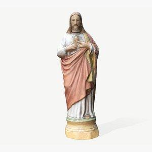 ceramic painted statue jesus 3D