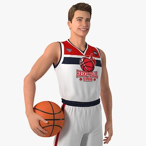 3D model Teenage Boy Holding Basketball Ball