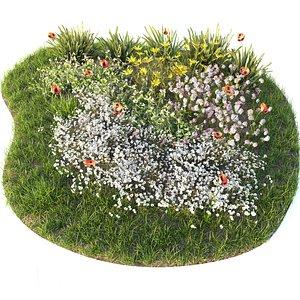 3D grass flowers bed