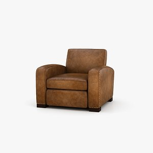 Restoration Hardware Library leather chair 3D model