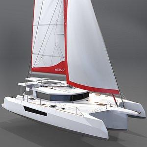 3D Trimaran Neel 47 Sailboat 3D