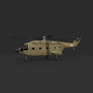 3D z-8 chinese military helicopter