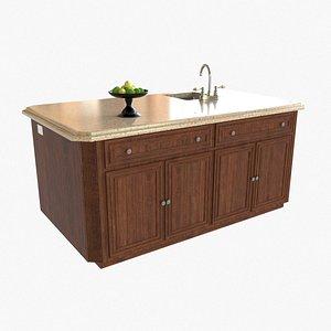 3D Kitchen Island with Sink