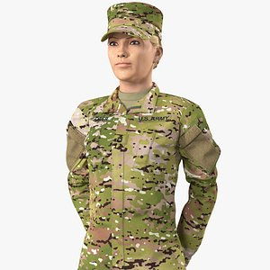 3D female soldier camo standing model