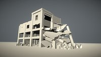 Low Poly Destroyed Building 18