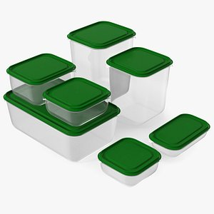 Plastic Food Storage Containers Set 3D model