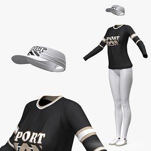 3D model Womens Activewear with Sun Visor