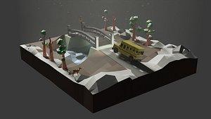 3D Diorama Bus model