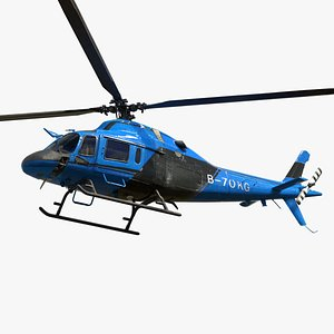 3D Helicopter B Blue AW119KX model