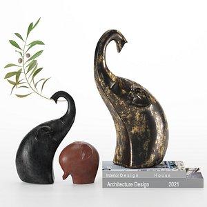 3D elephant figurines