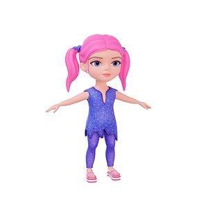 cartoon girl stylized 3D model