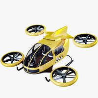 Flying Taxi Concept Air-Taxi Yellow