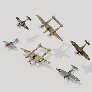 WW2 fighters lowpoly set B 3 x 2 3D model