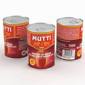 3D Food Can Mutti San Marzano Tomatoes 400g 2021